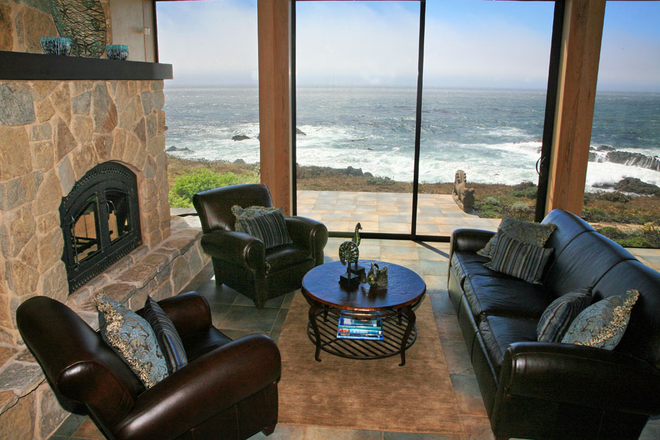 Crashing waves at the sitting room, Sea Ranch bluff-top residence