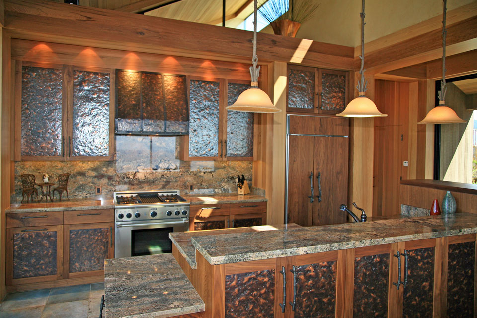 Custom copper cabinets in chef's kitchen, Sea Ranch bluff-top residence