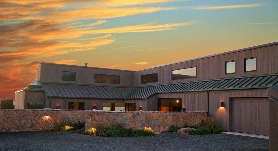 Sunset on the bluff-top, Sea Ranch bluff-top residence